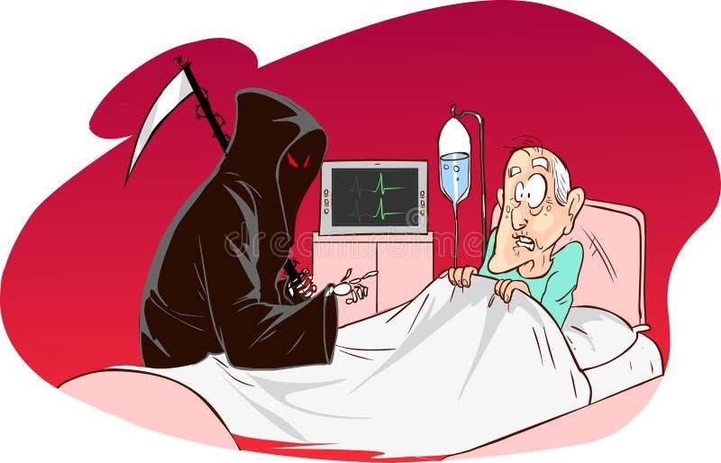 Ponura żniwiarka i pacjent ilustracja wektor
