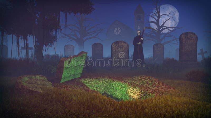 Ponura żniwiarka i pusty grób przy strasznym cmentarzem ilustracja wektor