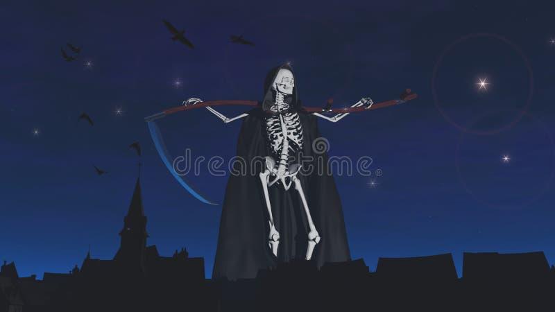 Ponura żniwiarka przy cmentarzem noc zdjęcie stock