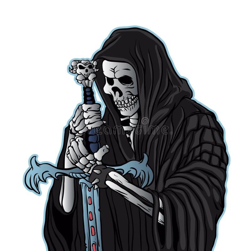 Ponura żniwiarka z kordzikiem ponurej żniwiarki tatuaż royalty ilustracja