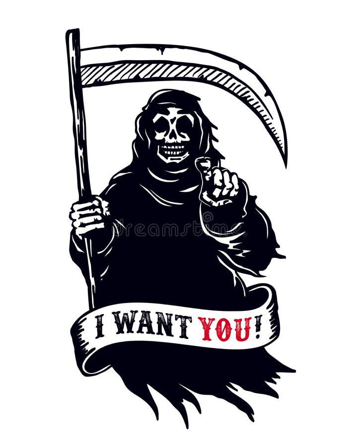 Ponura żniwiarka z kosą, śmiertelny wskazuje palec Chcę ciebie nieboszczyk! ilustracji