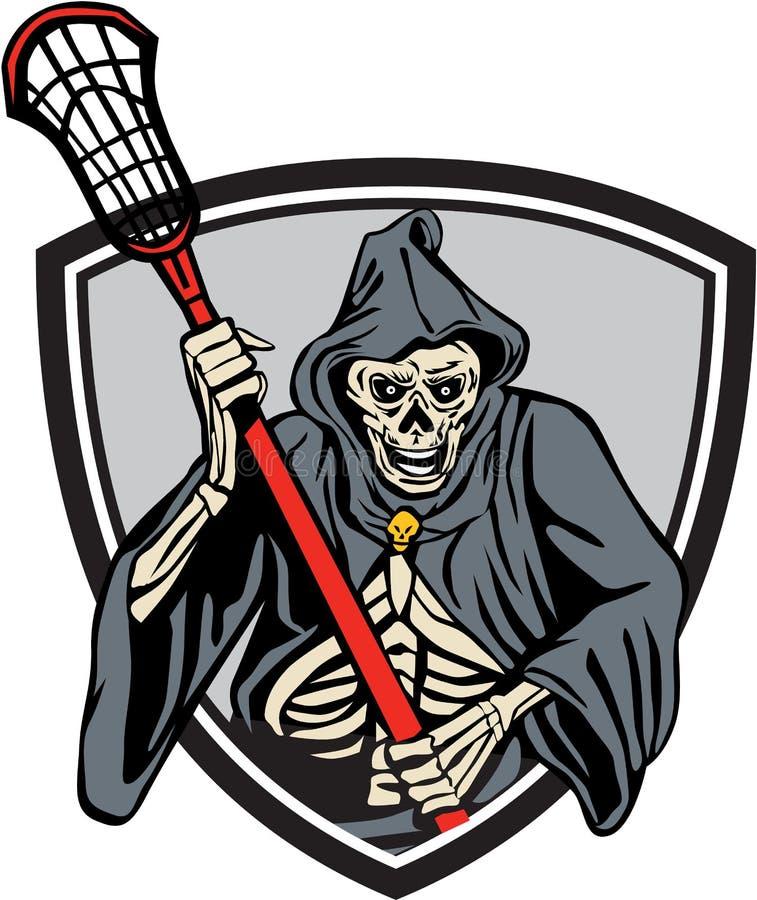 Ponurej żniwiarki Lacrosse gracza Crosse kij Retro royalty ilustracja