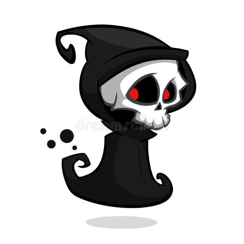 Ponurej żniwiarki postać z kreskówki odizolowywający na białym tle Halloweenowy wektorowy śmiertelny charakter ilustracji