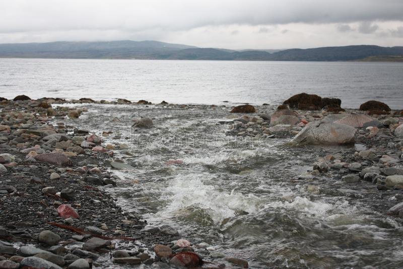 Ponury brzeg lodowaty morze obraz stock