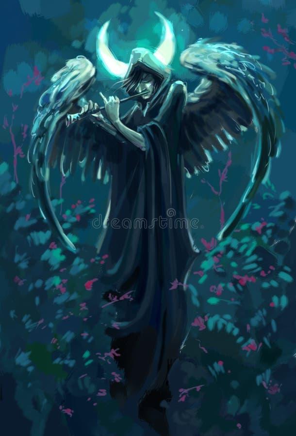 Ponury flecista z aniołem uskrzydla pod księżyc royalty ilustracja