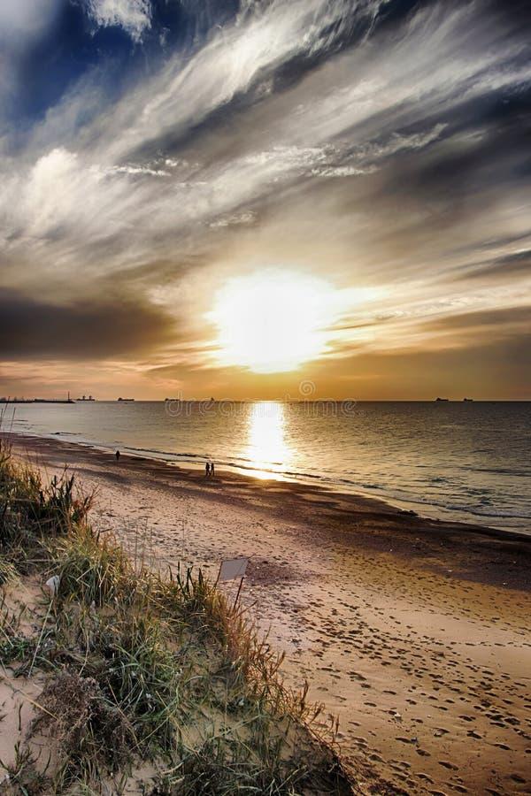 Ponury wieczór seascape fotografia royalty free