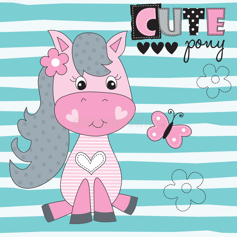 Pony with butterfly vector illustration. Cute pony with butterfly vector illustration royalty free illustration