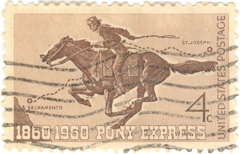 Pony Express Stamp. United States postage 4 cent stamp royalty free stock photo