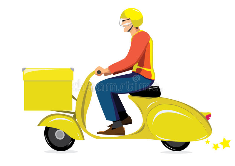 Pony express. On yellow scooter vespa vector illustration