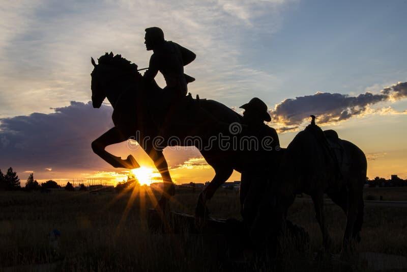 Pony Express Statue in Sunset near Casper, Wyoming stock image