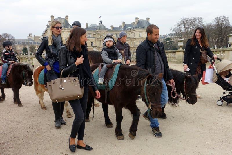 Pony Ride Luxembourg Gardens Paris stock fotografie