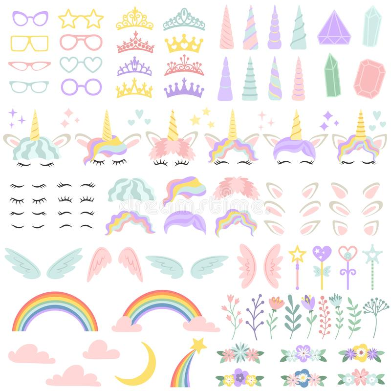 Pony unicorn face elements. Pretty hairstyle, magic horn and little fairy crown. Unicorns head creative vector. Pony unicorn face elements. Pretty hairstyle stock illustration