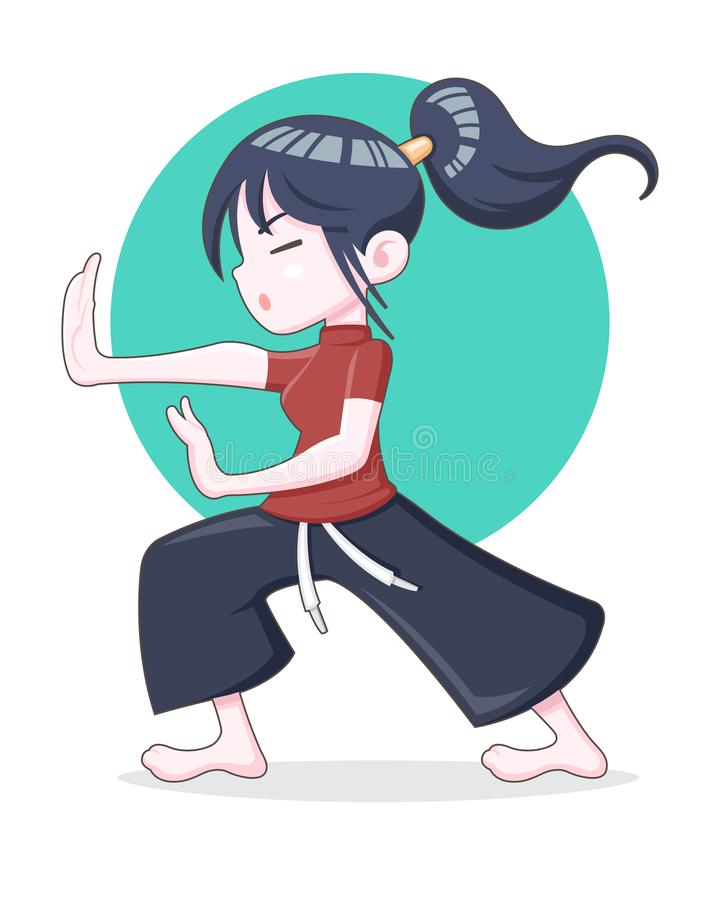 A ponytail hair girl training Kungfu vector illustration. Cartoon style ponytail hair girl training Kungfu steadily vector illustration vector illustration