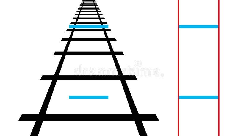 Ponzo illusion, geometrisk optisk illusion vektor illustrationer