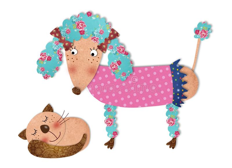 The poodle and cat. Colorful fabric and paper quiltting stock illustration