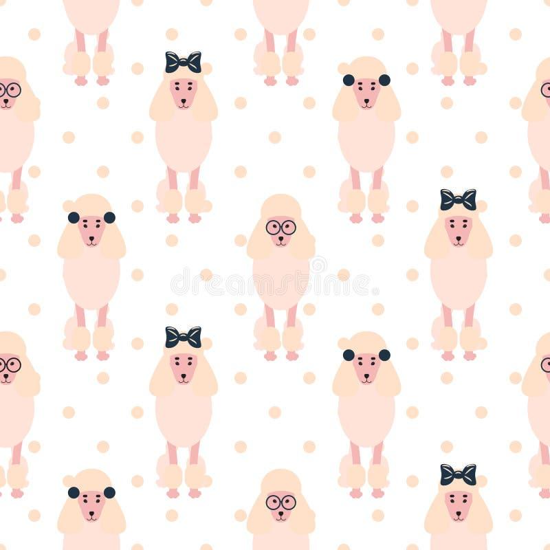 Poodle cute pink dog girlish seamless vector polkadot pattern. royalty free illustration