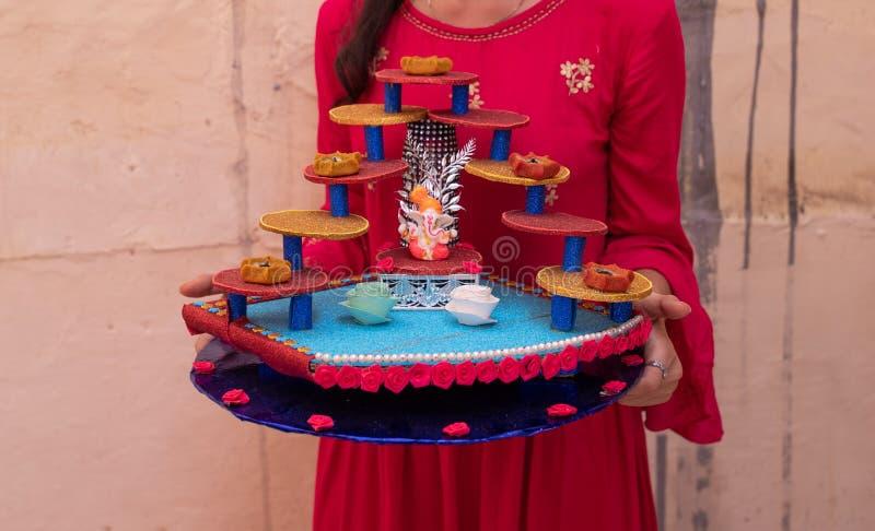Pooja Thali 免版税图库摄影