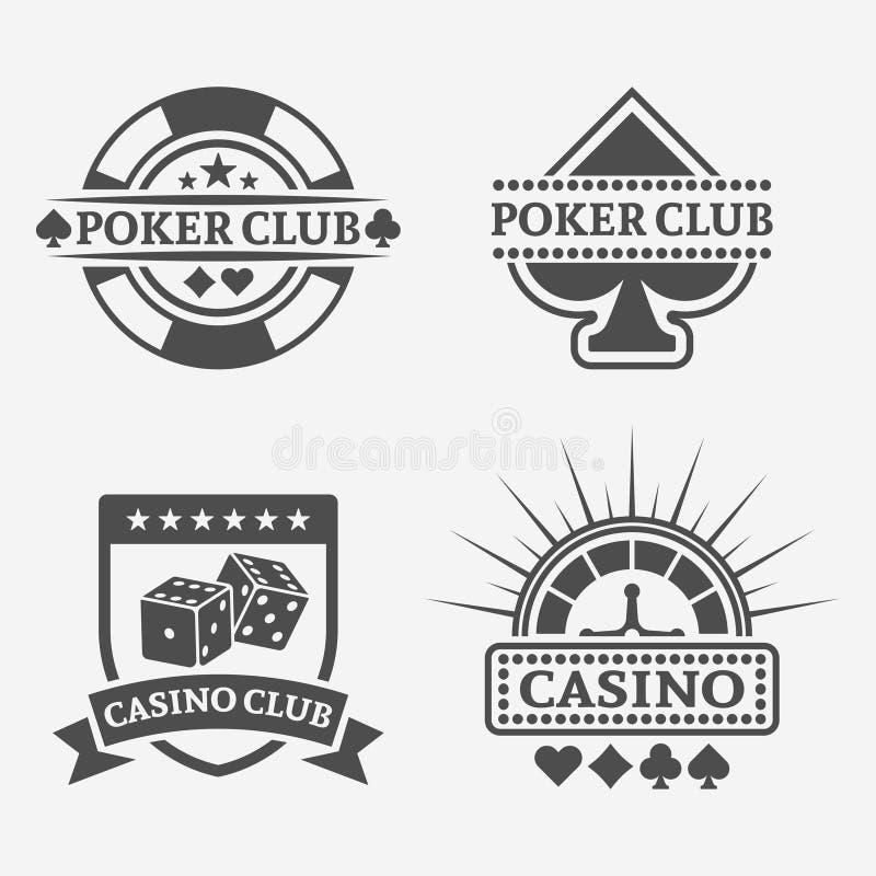 Pook club en het gokken casino vectoretiketten vector illustratie