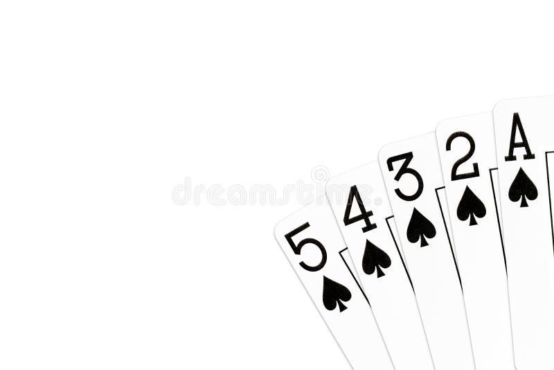 Pookhand 5 hoge rechte vloed in spades vector illustratie