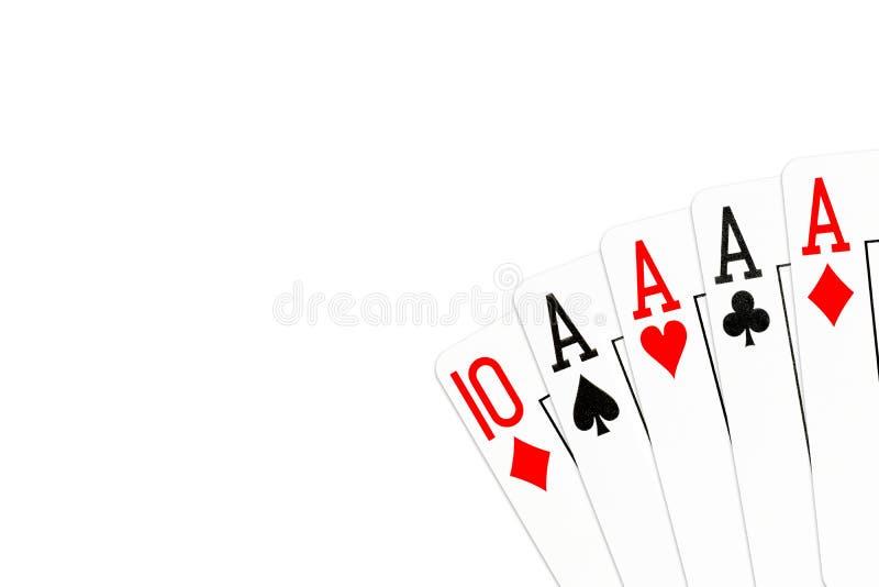 Pookhand vier van een soort in azen met 10 van diamanten als kicker stock illustratie