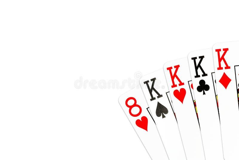 Pookhand vier van een soort in koningen met 8 van harten als kicker stock illustratie