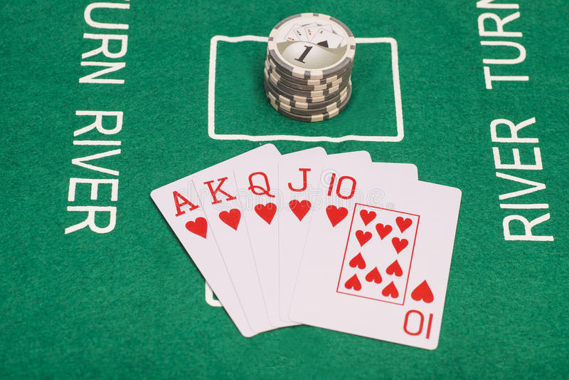Pookkaarten, koninklijk vloed en casino stock foto