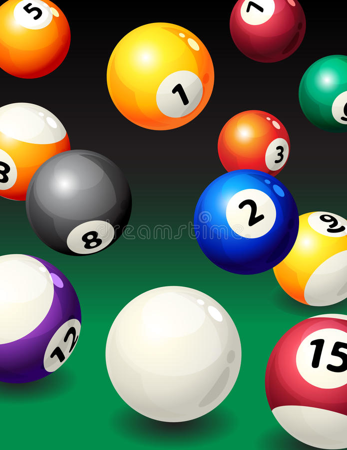 Pool. Vector illustration - background with pool balls royalty free illustration