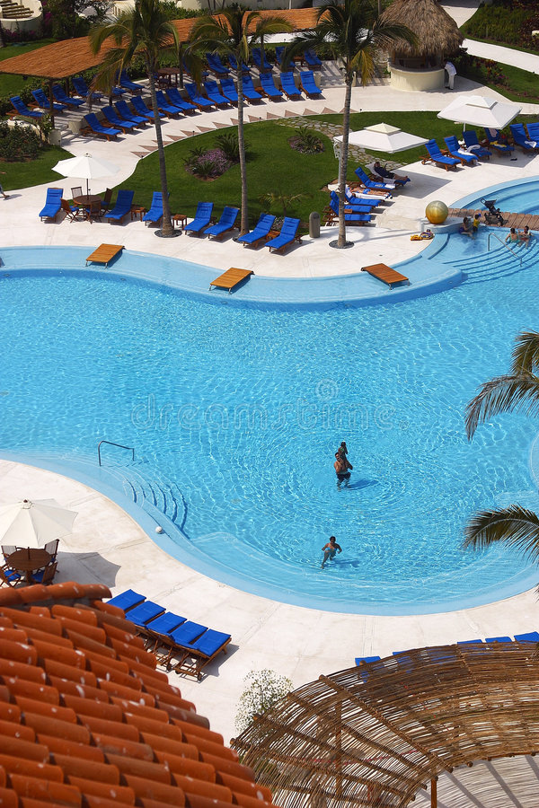 Pool. Partial view of the pools of a hotel in Puerto Vallarta, Jalisco, Mexico, Latin America royalty free stock photos