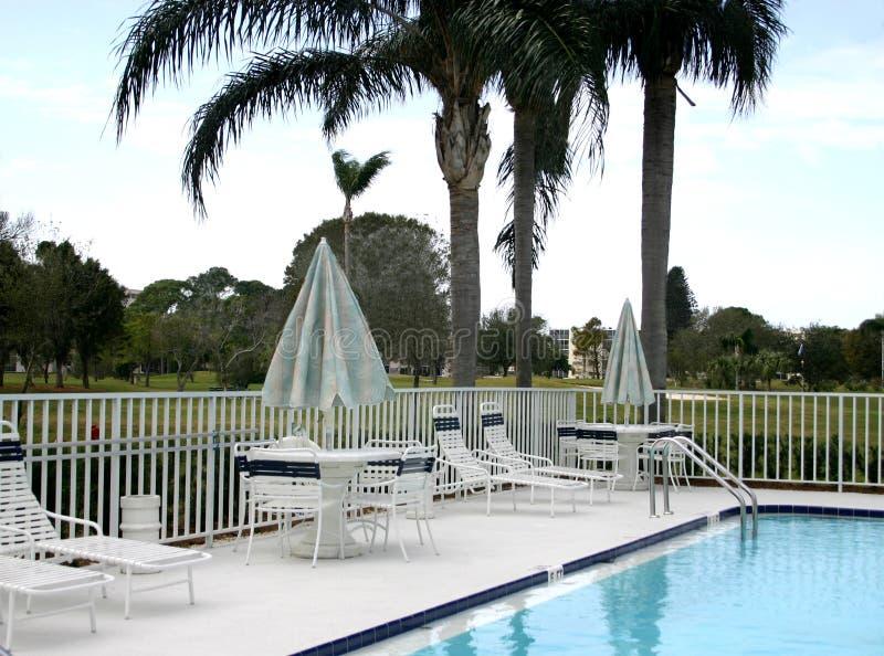 Pool Area on Golf Course stock photos