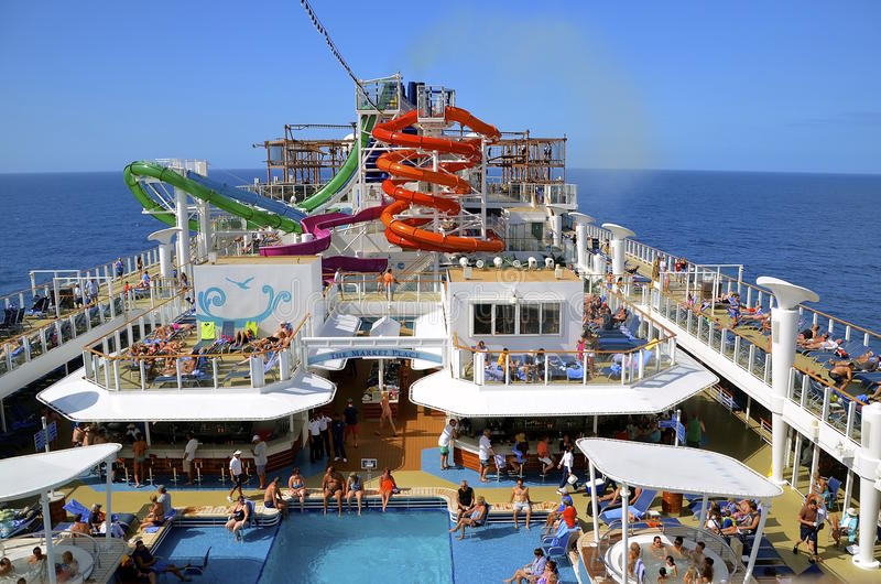 Pool area of A Norwegian Cruise ship royalty free stock images