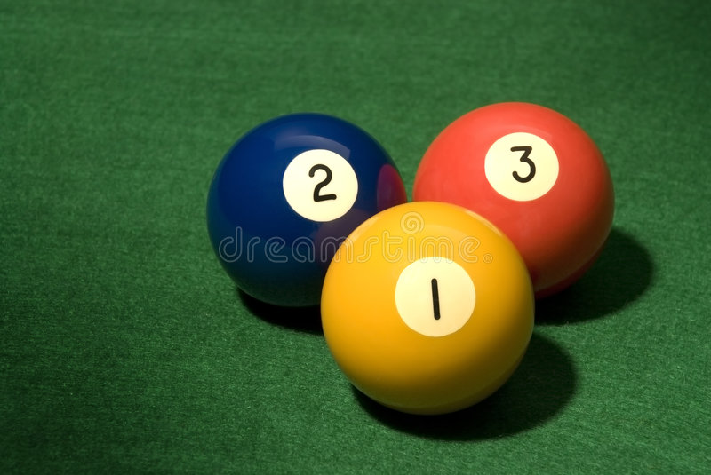 Pool ball 1, 2 and 3. Pool Ball on green velvet royalty free stock images