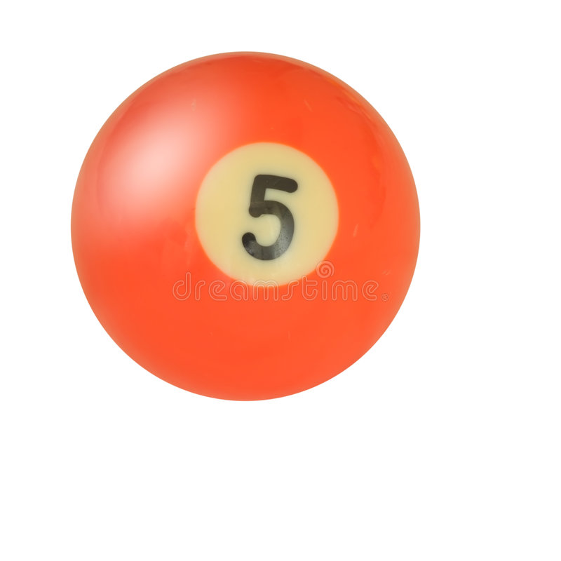 Pool ball number 5. On white stock photos