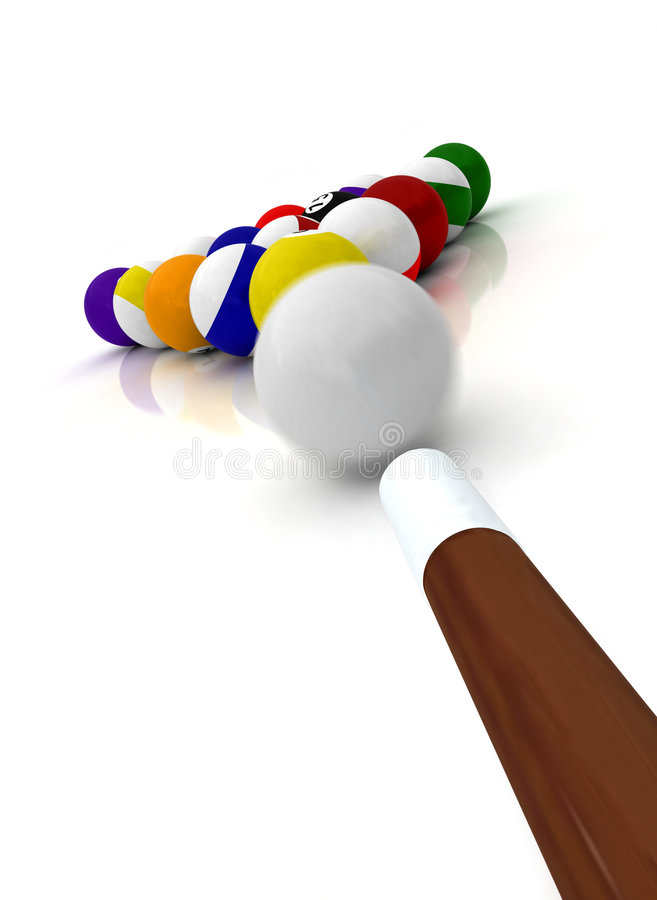 Free Pool Balls And Cue Stock Photography - 6531362