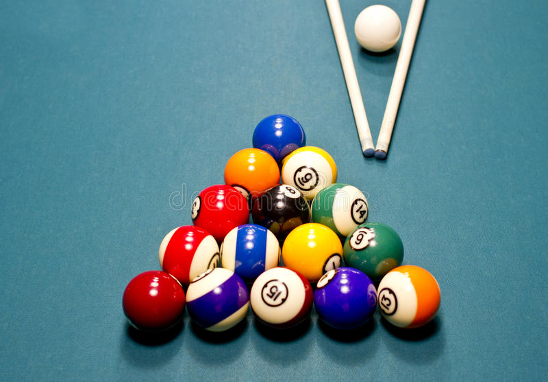Pool balls on table royalty free stock photos