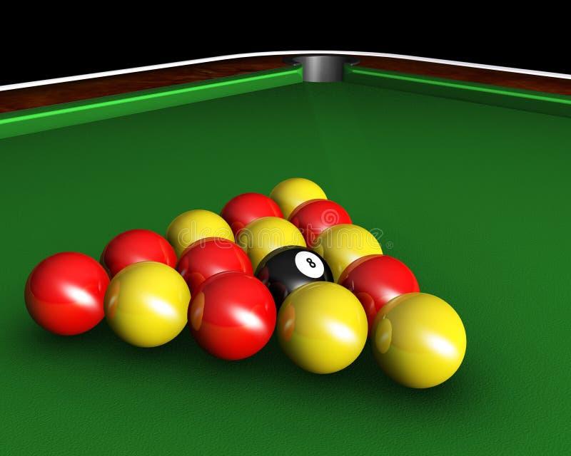 Pool balls on table. 3D render of pool balls on pool table stock illustration