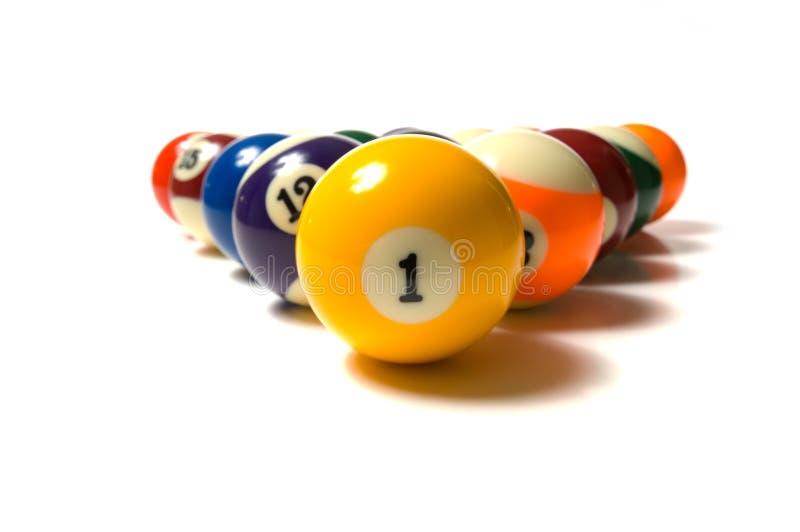 Pool Balls on white stock images
