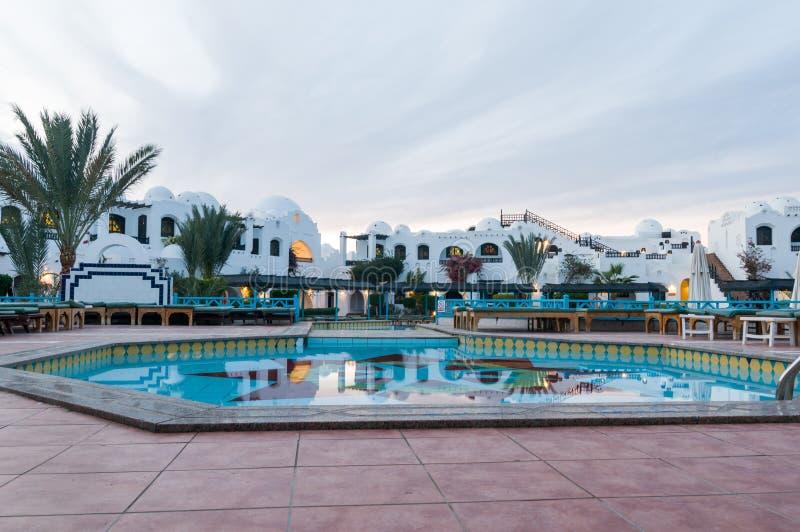 Pool bij Hurghada-hotel stock foto's