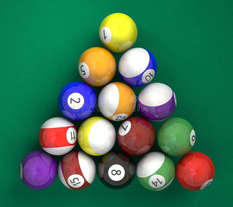 Pool billiard ball on green. A lot of billiard ball on green background stock photography