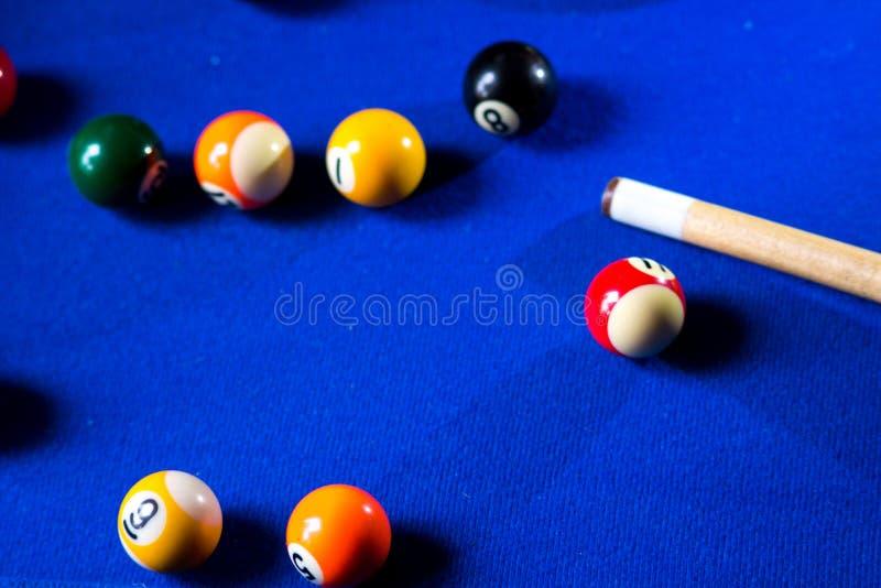 Pool billiard balls on blue table sport game set. Snooker, pool game stock photo