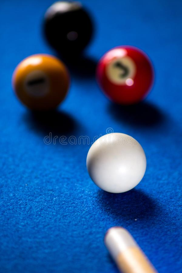 Pool billiard balls on blue table sport game set. Snooker, pool game stock photography