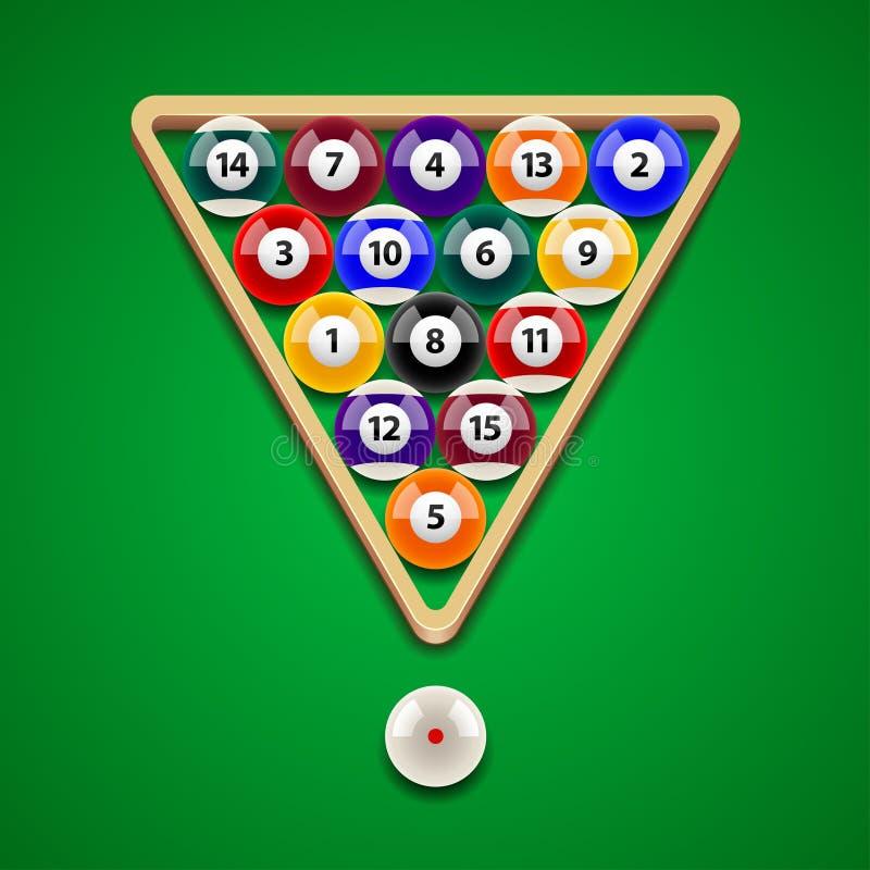 Pool billiard balls on green table vector. Pool billiard balls on green table photo-realistic vector illustration stock illustration