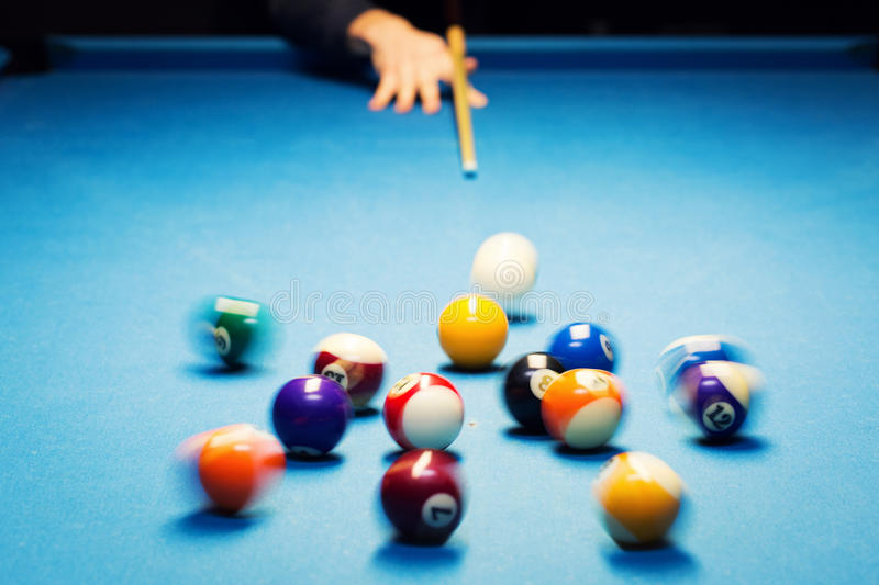 Pool billiard break shot. motion blur royalty free stock images
