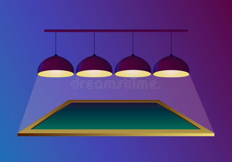 Pool billiard table with four ceiling lamps that shine and hang on purple background. Vector illustration in realistic style. Poster or banner invitation stock illustration