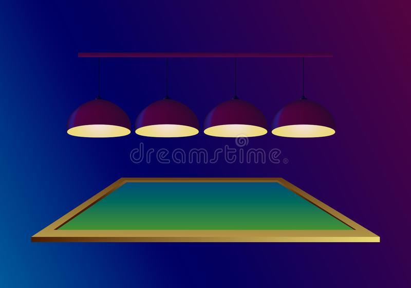 Pool billiard table with four illuminating ceiling lamps on dark blue background. Vector illustration flyer in realistic style. Poster or banner invitation royalty free illustration