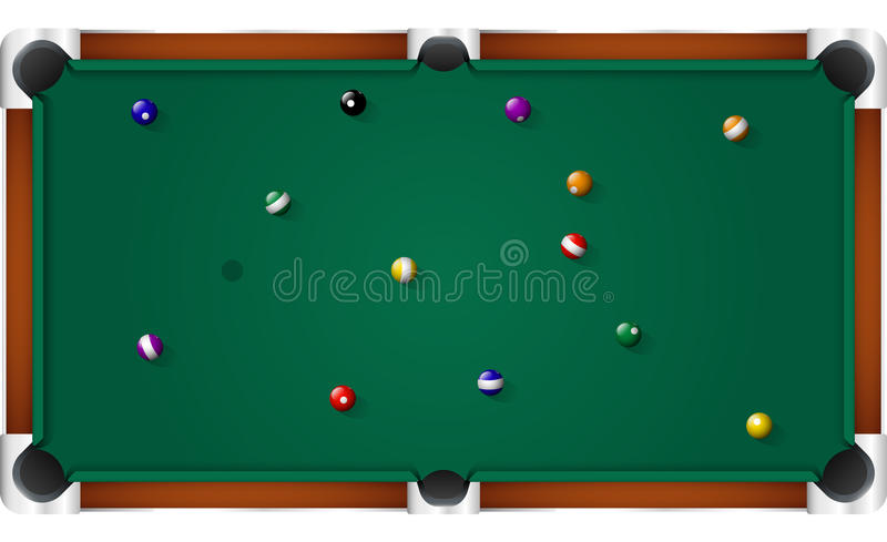 Pool Billiard Table. Top view vector illustration