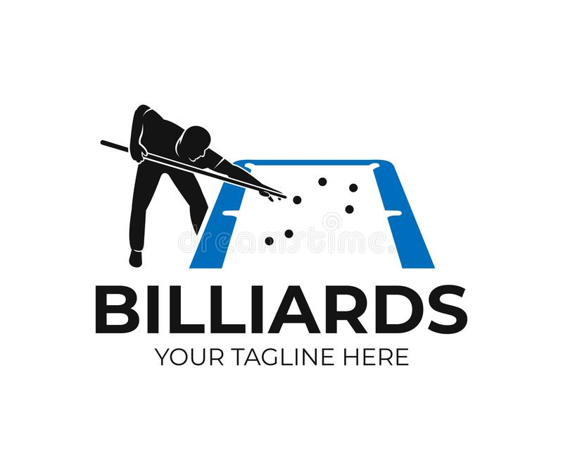 Pool billiards, human next to blue table with snooker cues and balls, logo design. Billiards sport game and tournament with player vector illustration