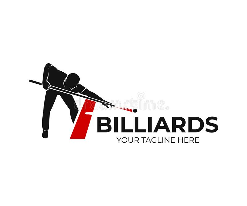 Pool billiards, human next to red table with snooker cues and balls, logo design. Billiards sport game and tournament with player,. Vector design and stock illustration