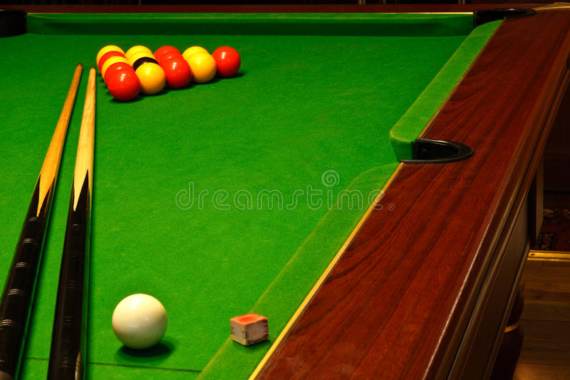 Download Pool billiards table stock photo. Image of cues, chalk - 26426456
