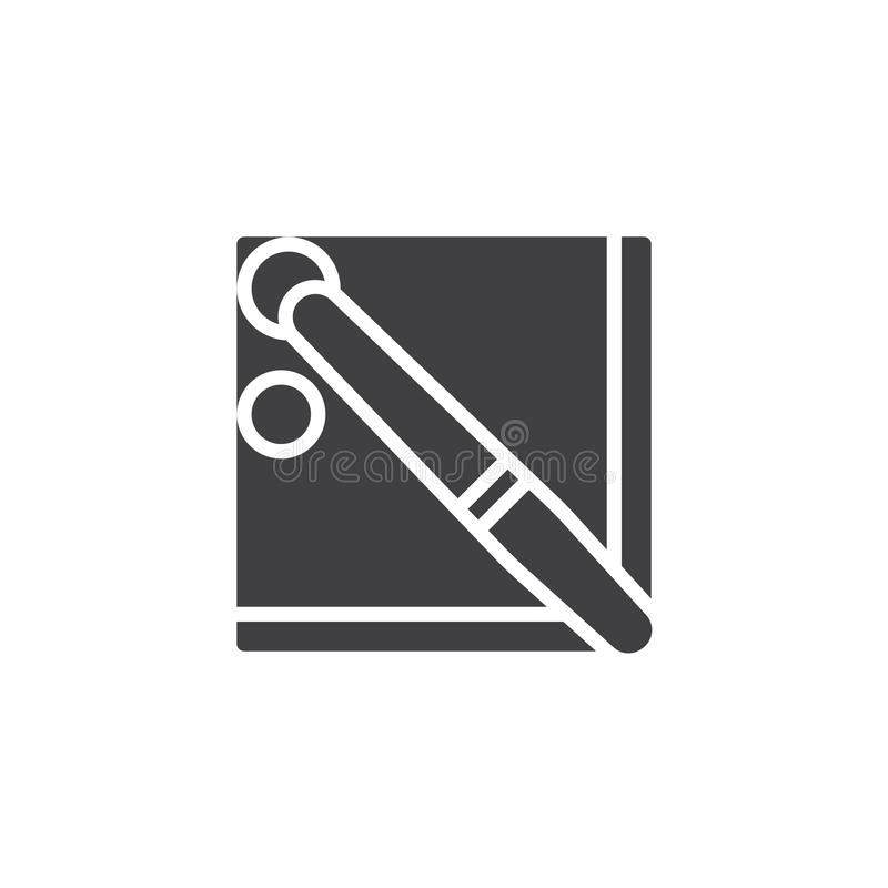 Pool billiards table top view vector icon. Filled flat sign for mobile concept and web design. Snooker balls and cue glyph icon. Symbol, logo illustration royalty free illustration