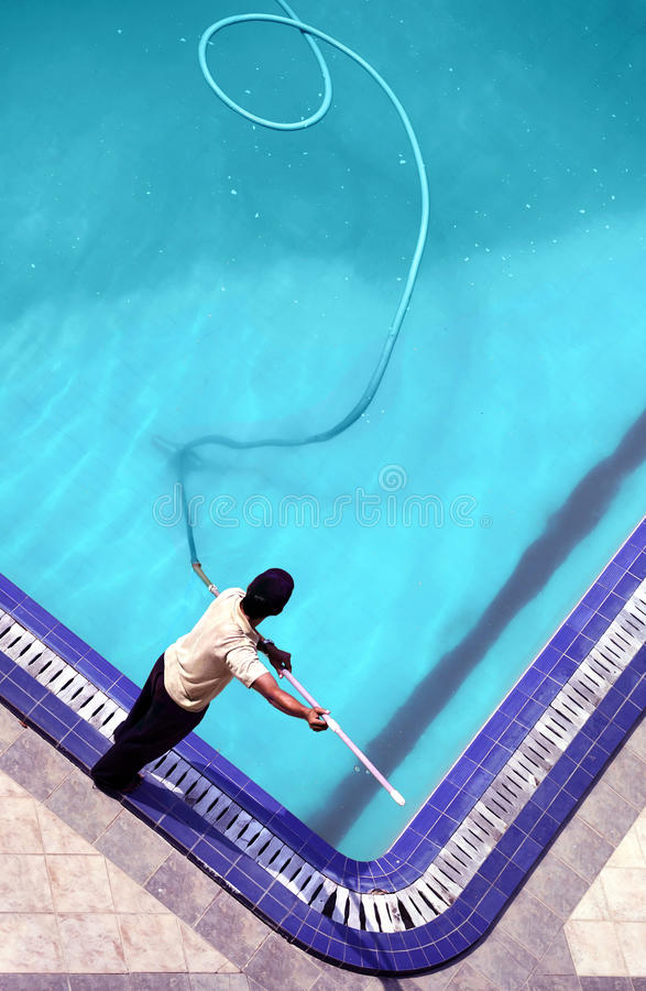 Pool cleaning stock photos